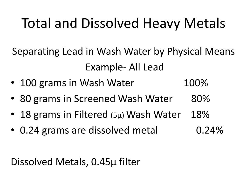Total and Dissolved Heavy Metals