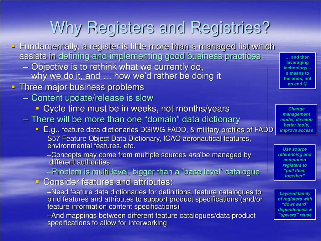 Why Registers and Registries?