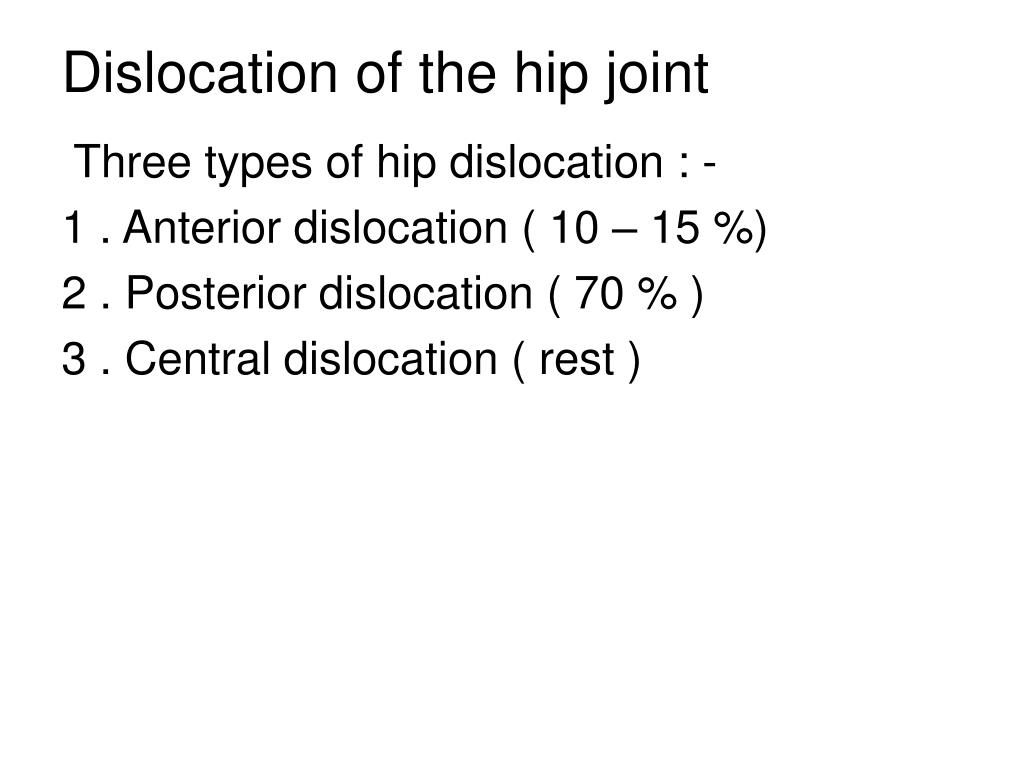 Ppt Dislocation Of The Hip Joint Powerpoint Presentation Id266692
