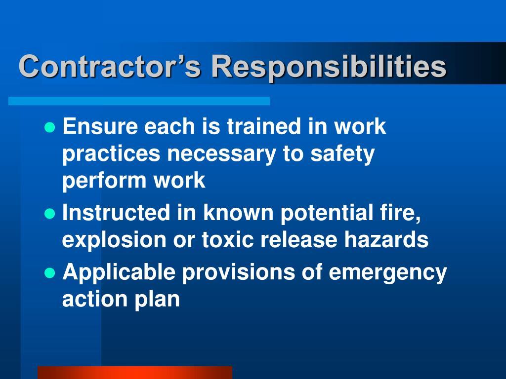 Contractor's Responsibilities