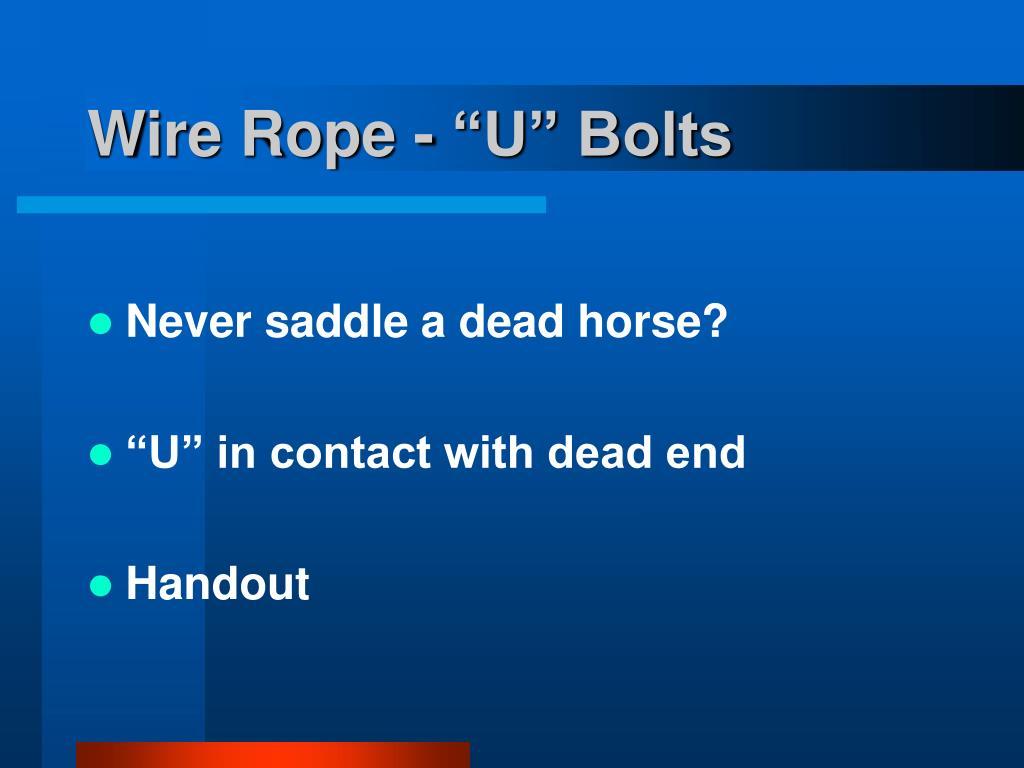 "Wire Rope - ""U"" Bolts"