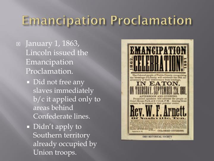 emancipation proclamation slaves The emancipation proclamation was a document signed into law by president abraham lincoln on january 1, 1863, freeing the slaves then held in the states in rebellion to the united states.