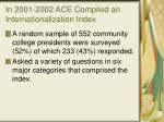 in 2001 2002 ace compiled an internationalization index