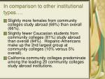 in comparison to other institutional types