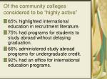 of the community colleges considered to be highly active