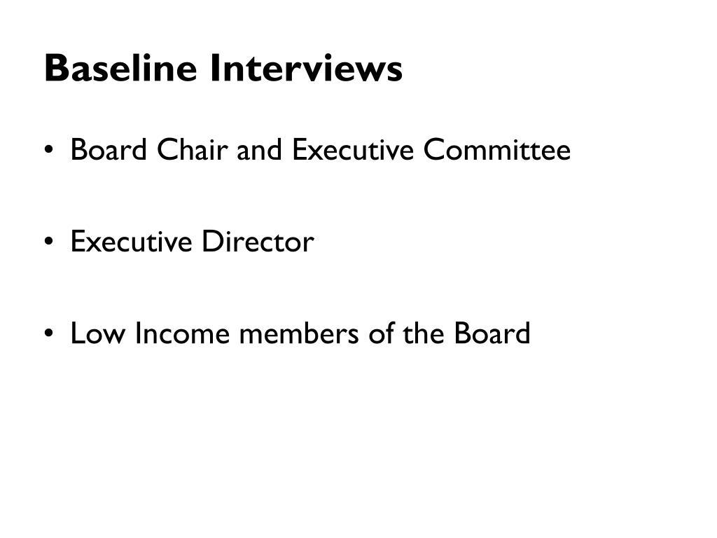Baseline Interviews