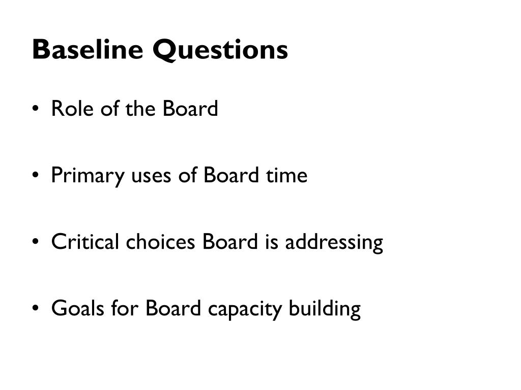 Baseline Questions