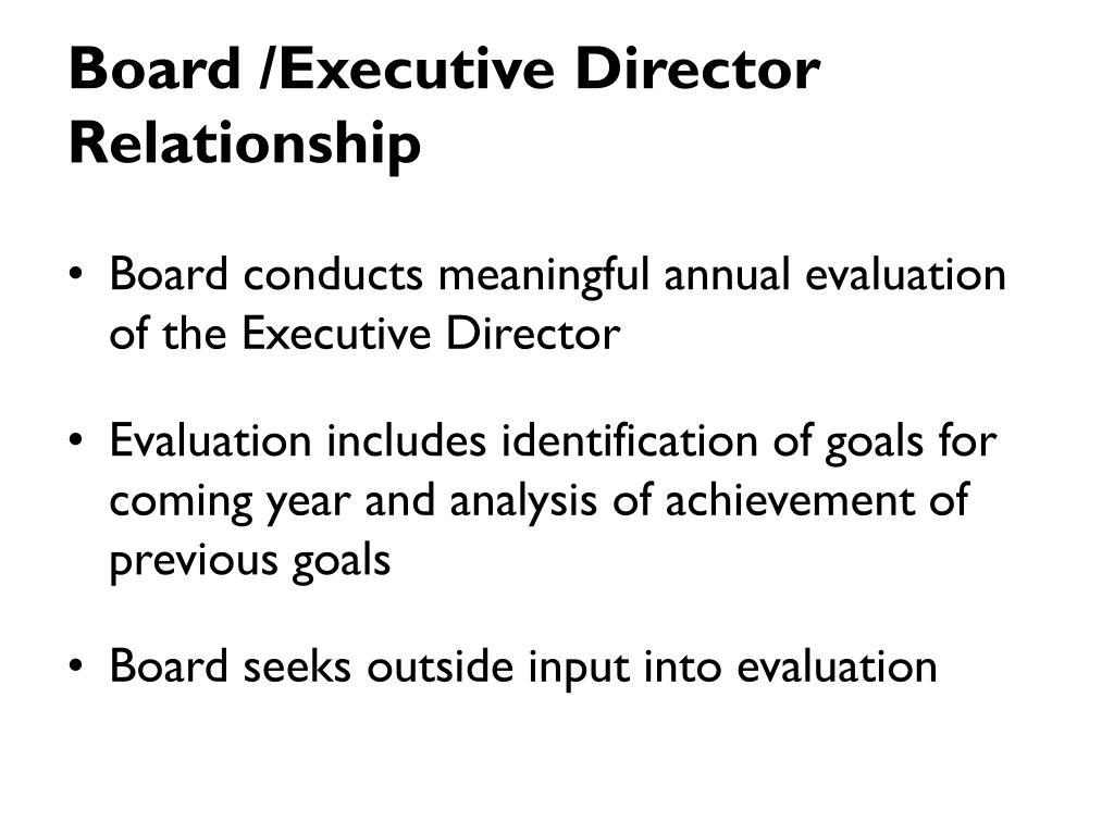 Board /Executive Director Relationship