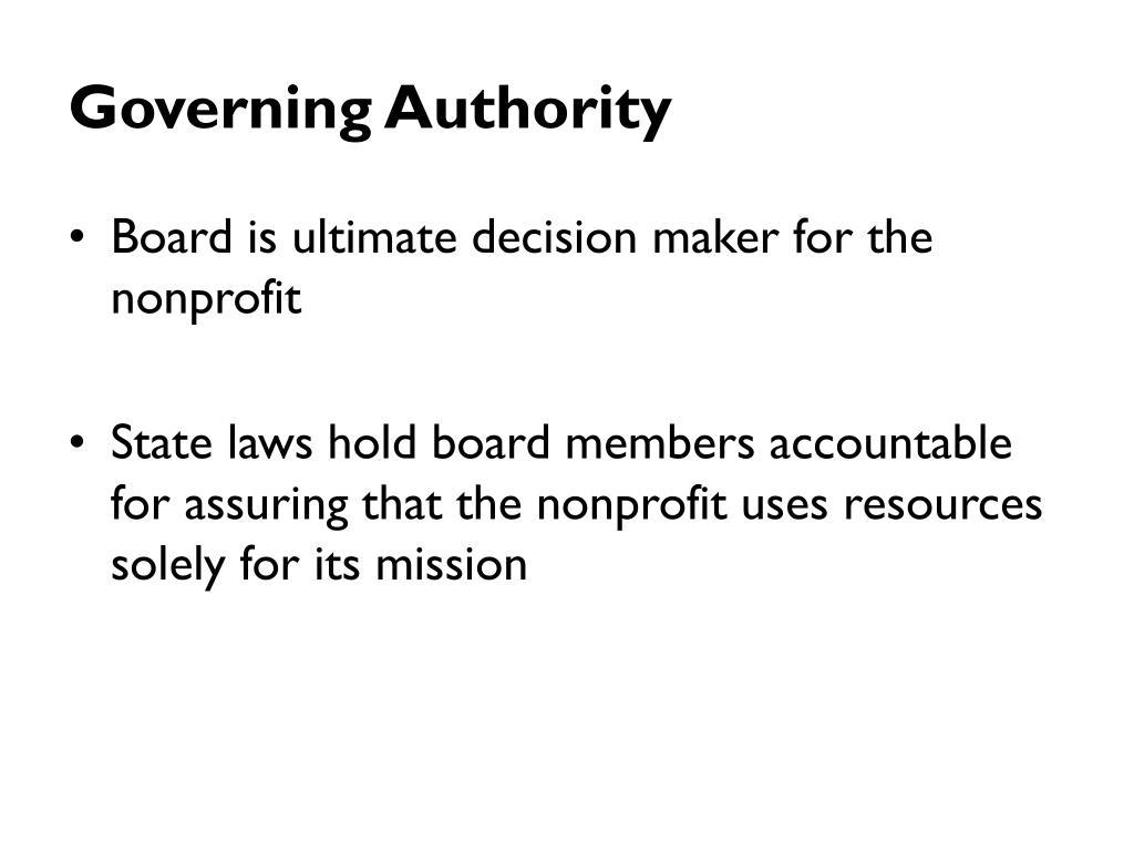 Governing Authority