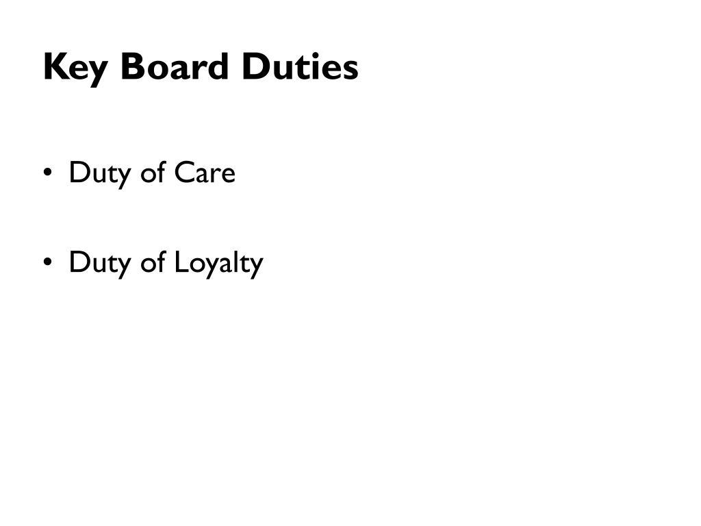 Key Board Duties