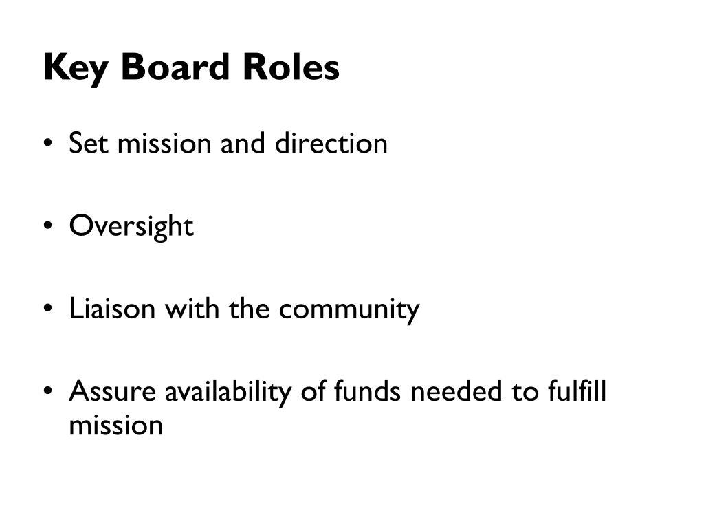 Key Board Roles