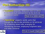 port authorities iii