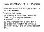 reclassification exit eld program