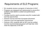 requirements of eld programs