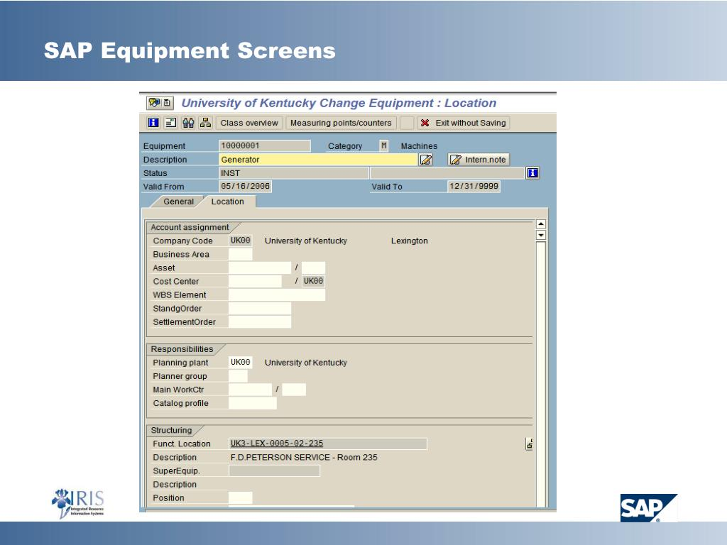 SAP Equipment Screens