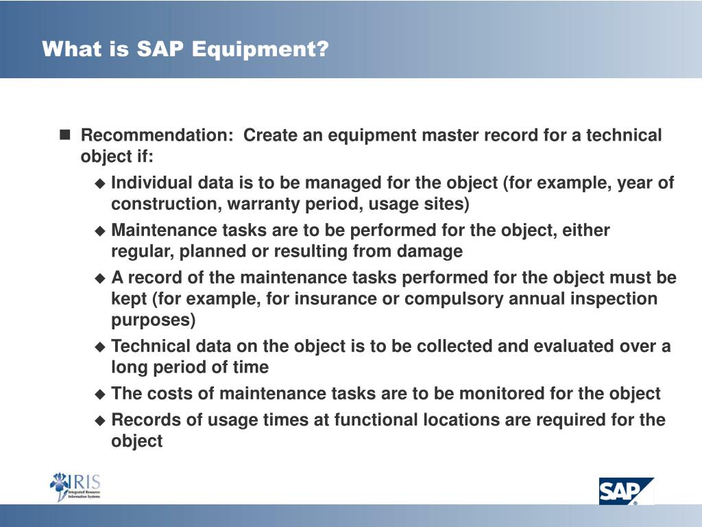 What is SAP Equipment?