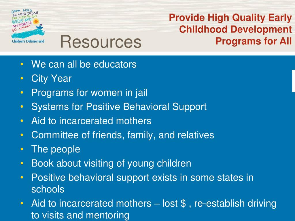 Provide High Quality Early Childhood Development Programs for All