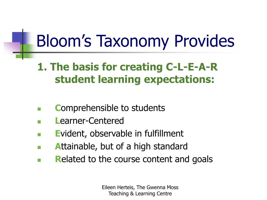 Bloom's Taxonomy Provides