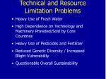 technical and resource limitation problems