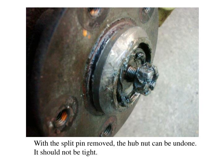 With the split pin removed, the hub nut can be undone.