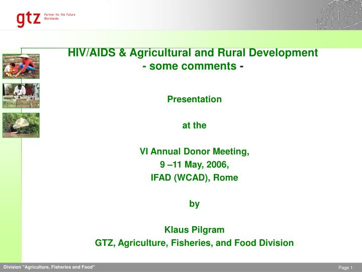 Hiv aids agricultural and rural development some comments