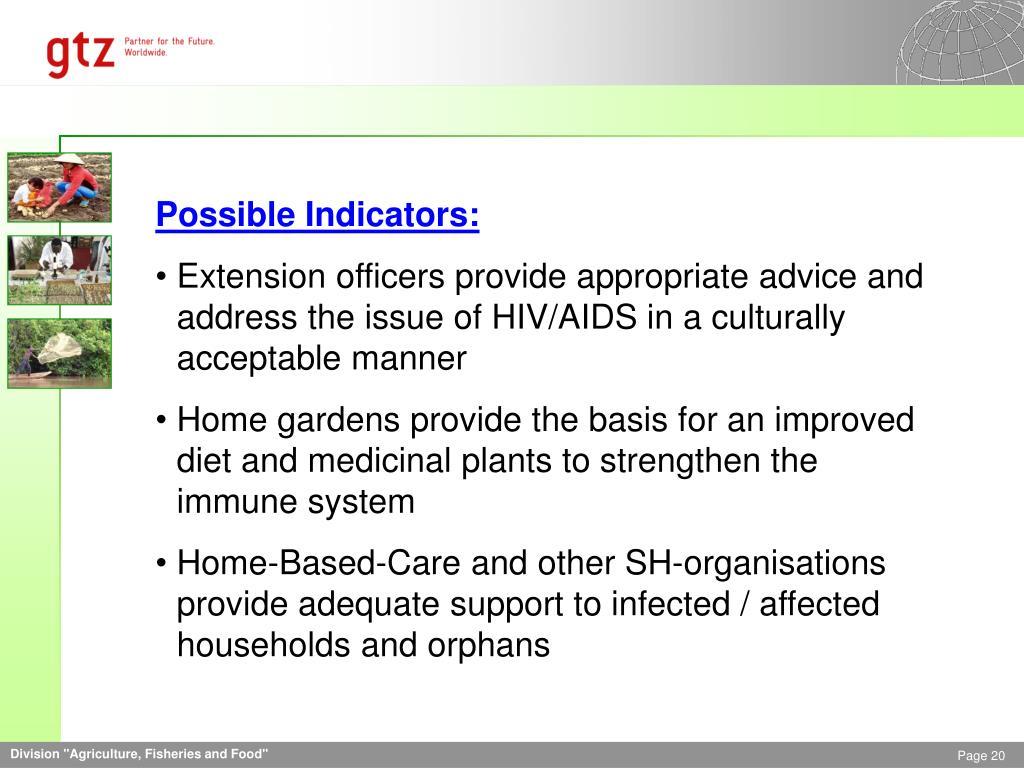 Possible Indicators: