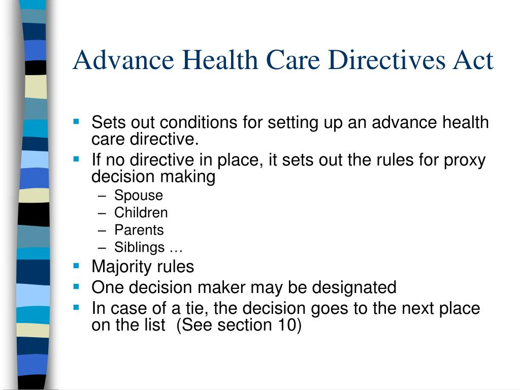 Advance Health Care Directives Act