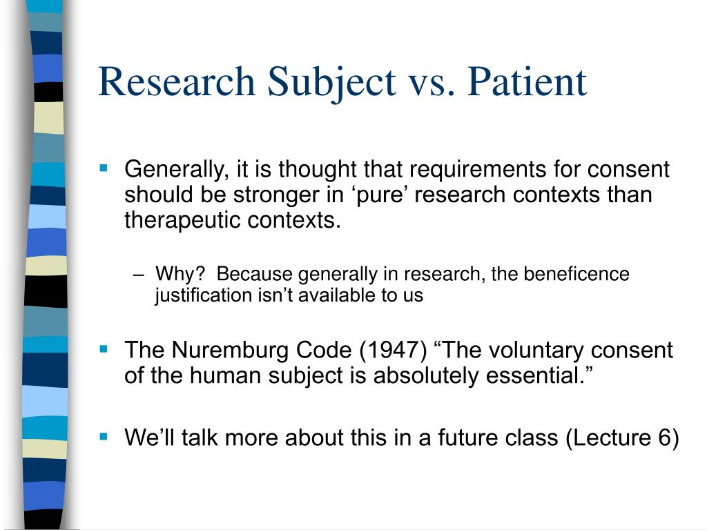 Research Subject vs. Patient