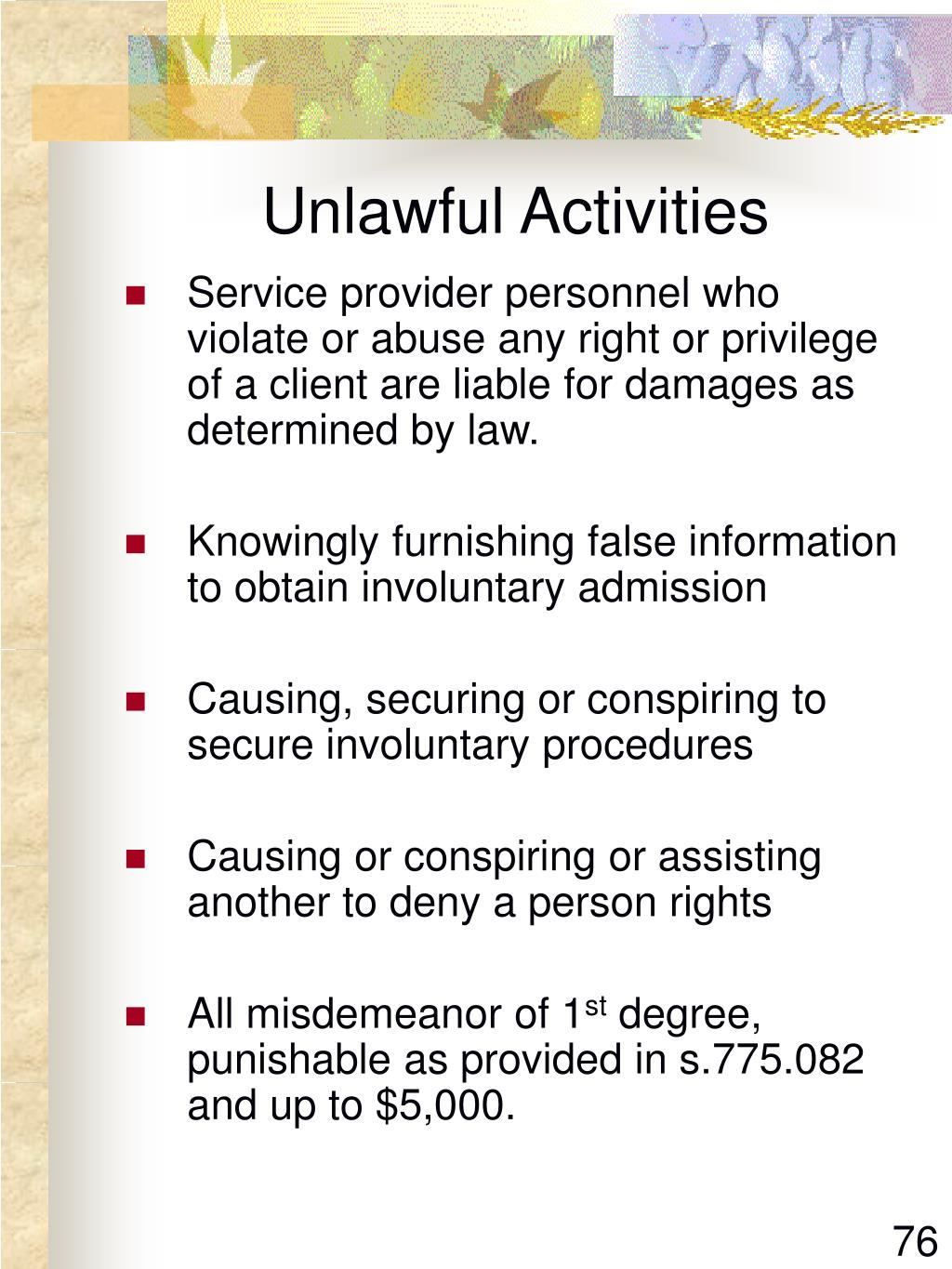 Unlawful Activities