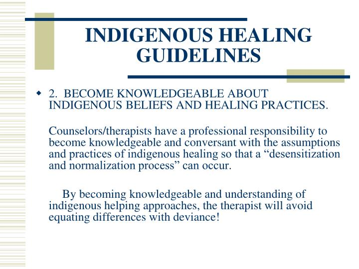 Indigenous healing guidelines3
