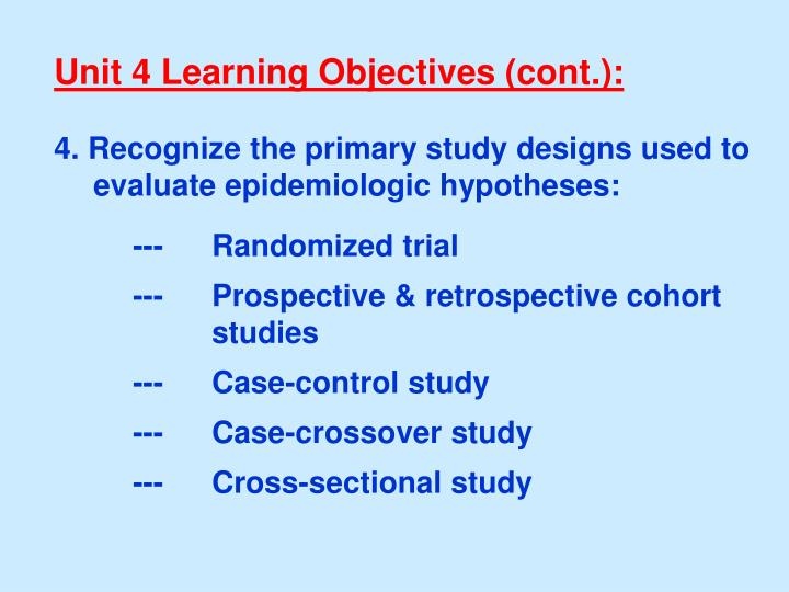 Unit 4 Learning Objectives (cont.):