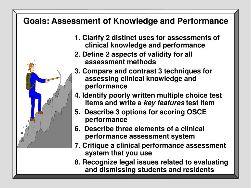 Goals: Assessment of Knowledge and Performance