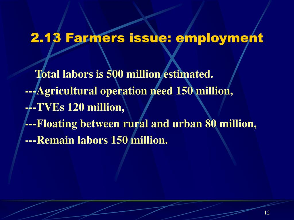 2.13 Farmers issue: employment