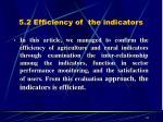5 2 efficiency of the indicators