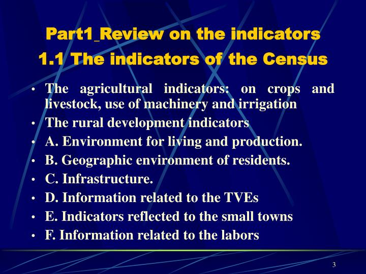 Part1 review on the indicators 1 1 the indicators of the census