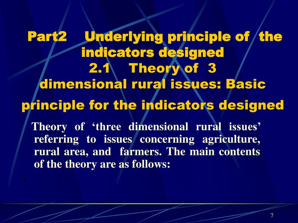 Part2    Underlying principle of  the indicators designed