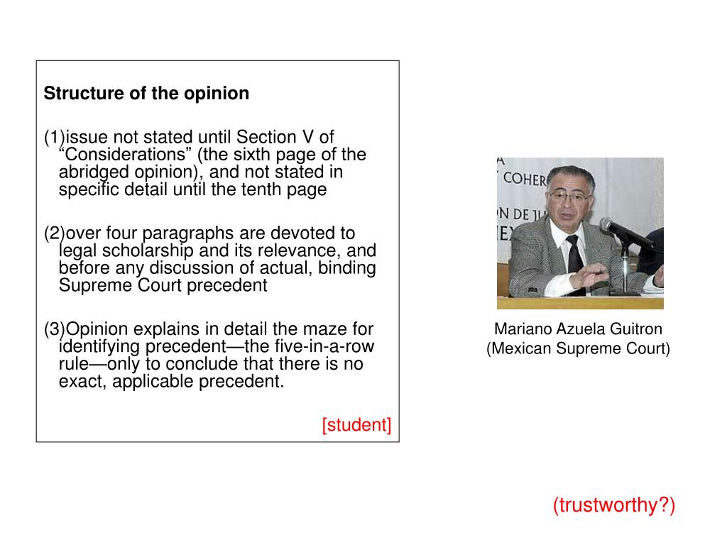 Structure of the opinion