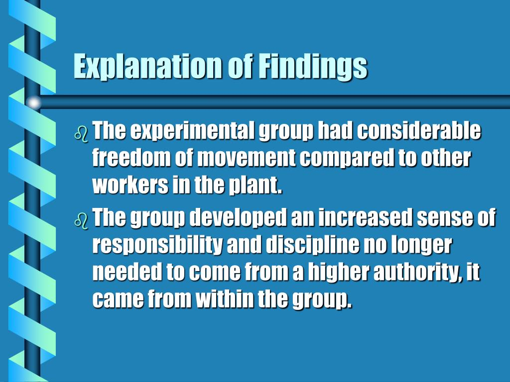 Explanation of Findings