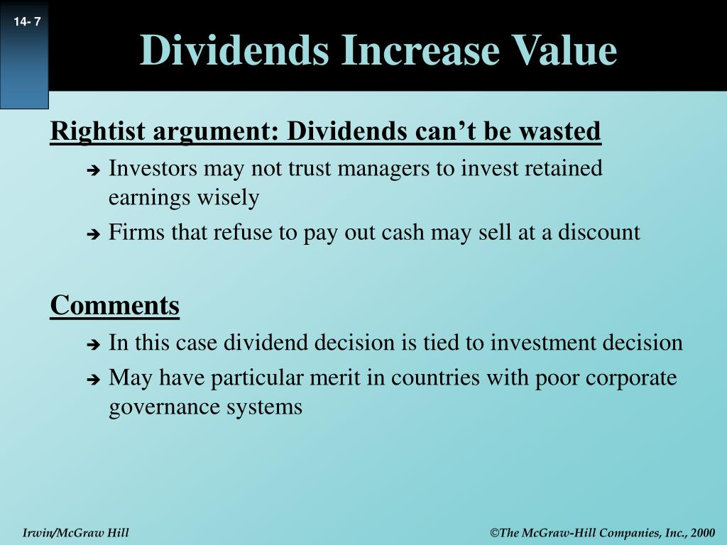 Dividends Increase Value