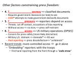 other factors constraining press freedom