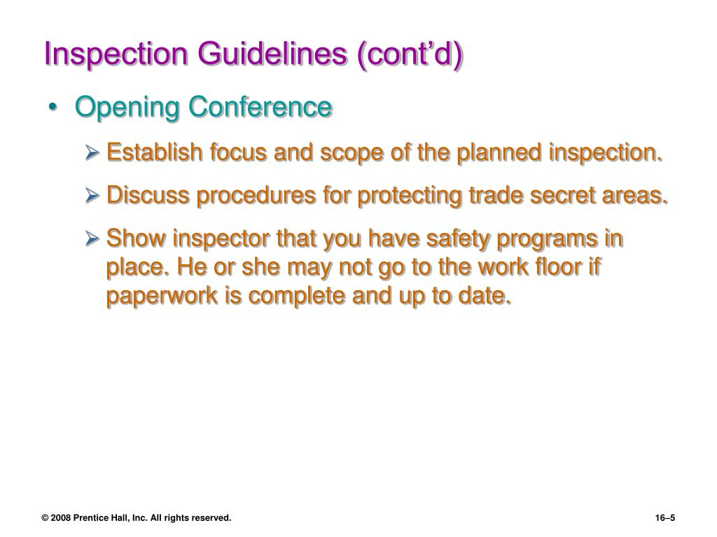 Inspection Guidelines (cont'd)