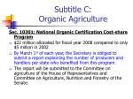 subtitle c organic agriculture