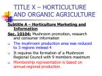 title x horticulture and organic agriculture