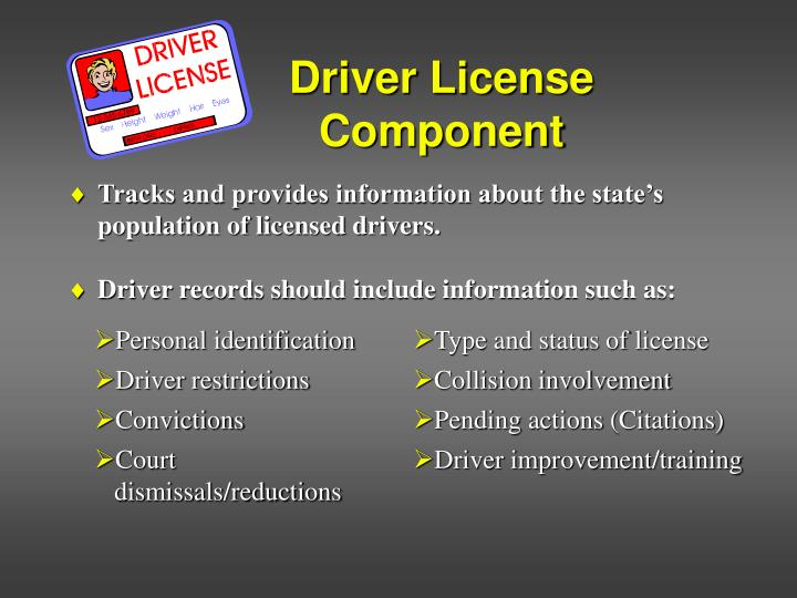 Driver license component