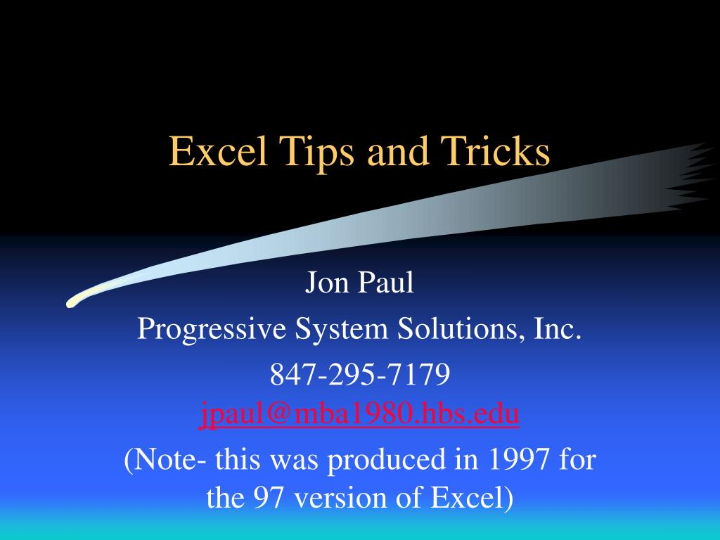 excel tips and tricks l.