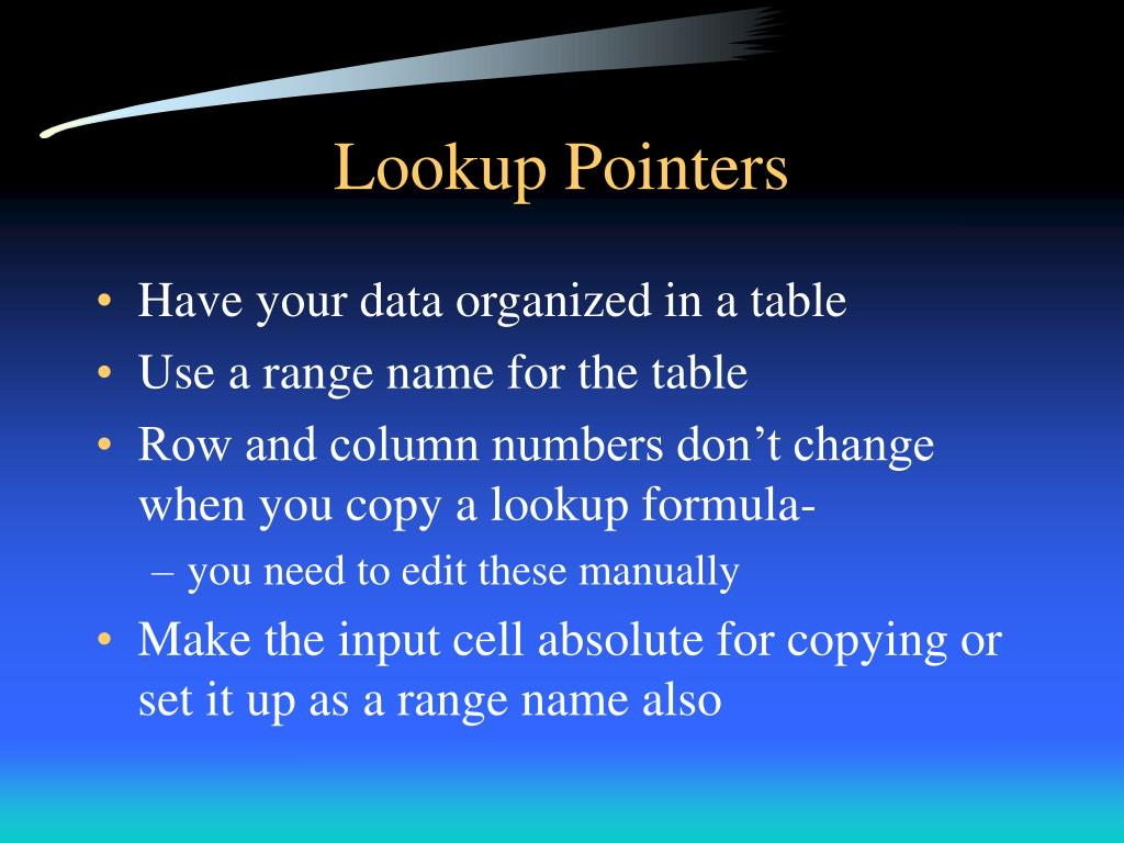 Lookup Pointers