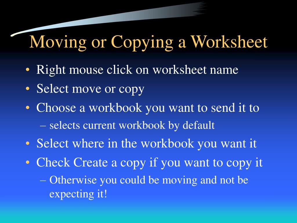 Moving or Copying a Worksheet