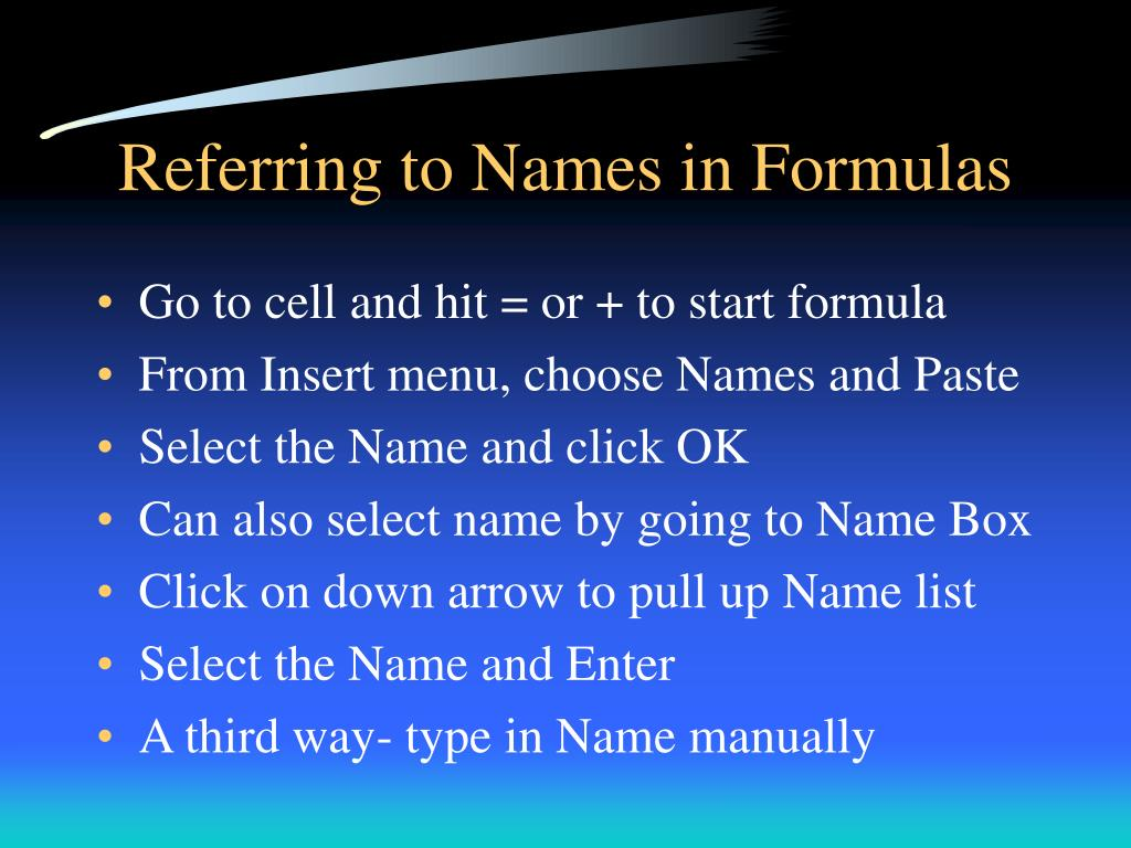 Referring to Names in Formulas