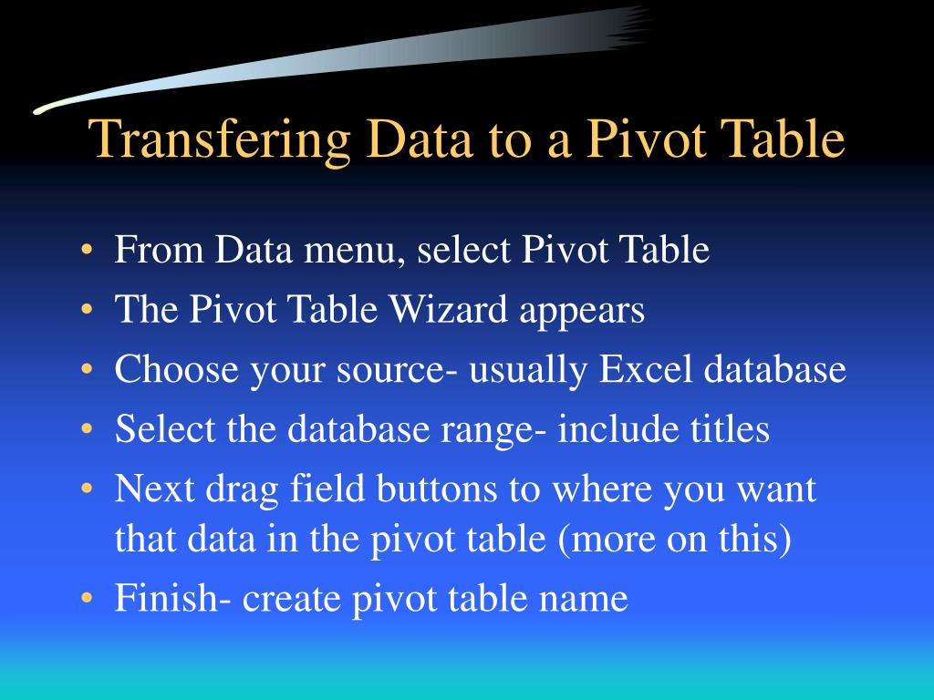 Transfering Data to a Pivot Table
