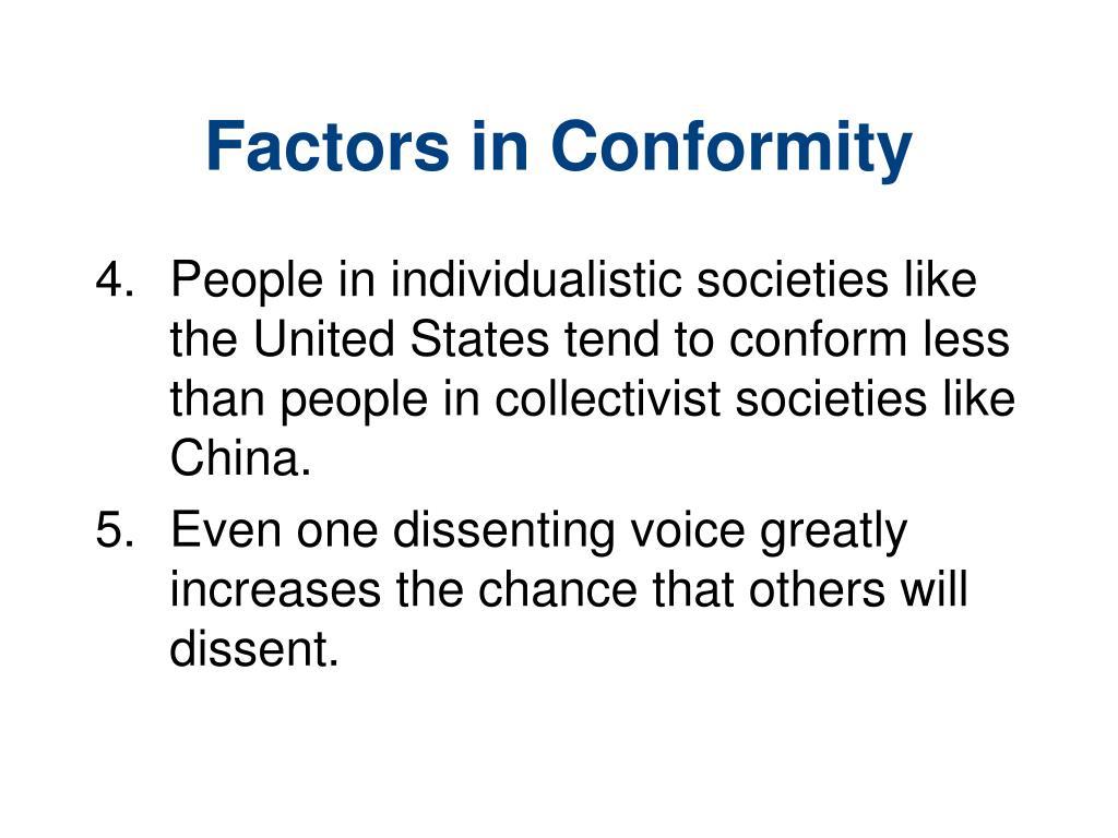 Factors in Conformity